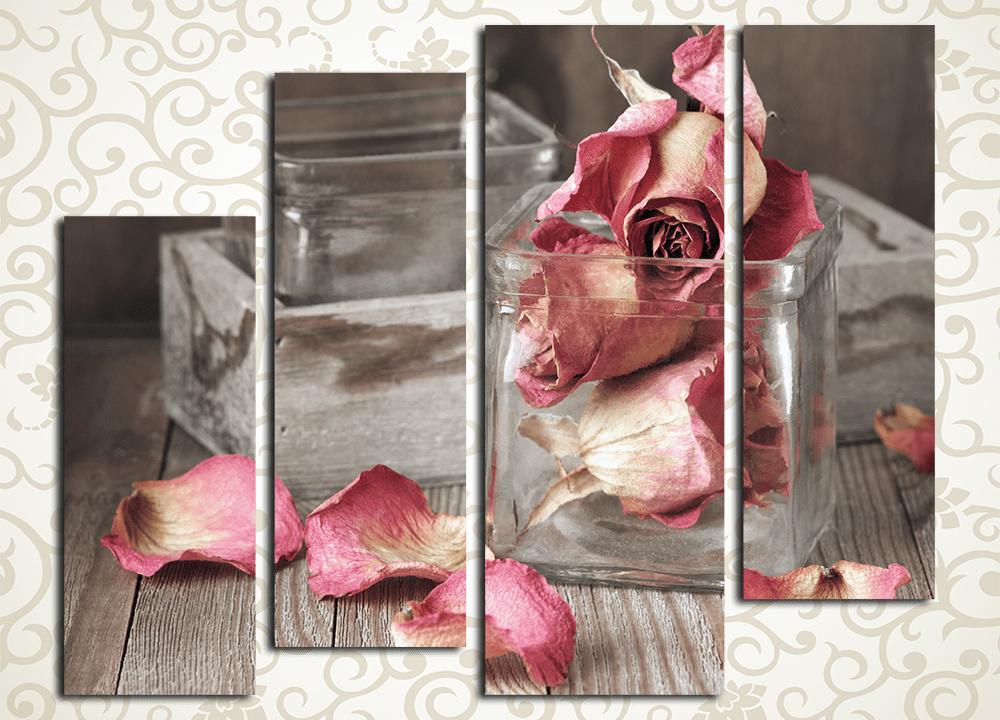 Модульная картина Розовые бутоныЦветы и фрукты<br><br>
