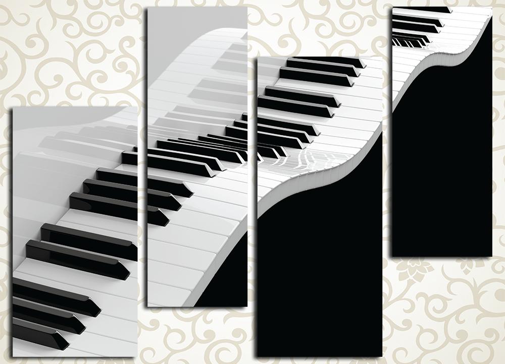 Модульная картина Летящие клавишиТворческий и слегка эксцентричный характер хозяйки дома отлично подчеркнет модульная картина «Летящие клавиши». Эта оригинальная композиция изображает клавиатуру рояля, слегка изогнутую, словно морская волна. Картина выполнена в стильной черно-белой гамме и состоит из 4 вертикальных сегментов. Это полотно отлично дополнит интерьер прихожей, холла, гостиной, зала спальни, а также рабочего кабинета. Благодаря использованию высокотехнологичных латексных красок изображение не требует защиты лаком и надолго сохранит свежесть палитры.<br>