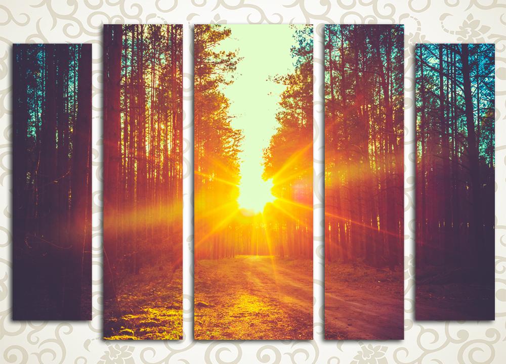 Модульная картина Закат в лесу<br>