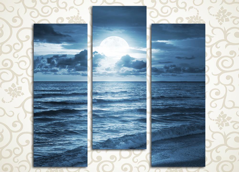 Модульная картина Голубая луна над морем