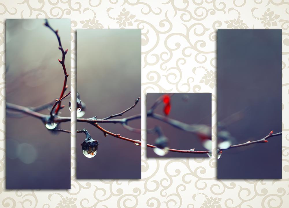 Модульная картина Капли на ветвях
