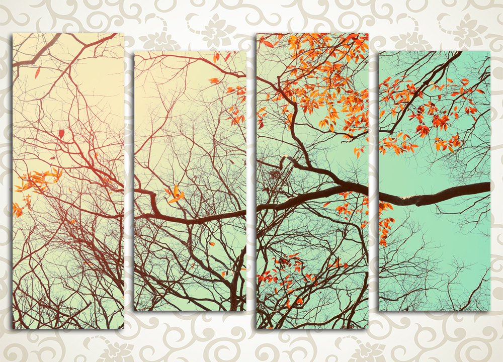 Модульная картина Осенние ветви
