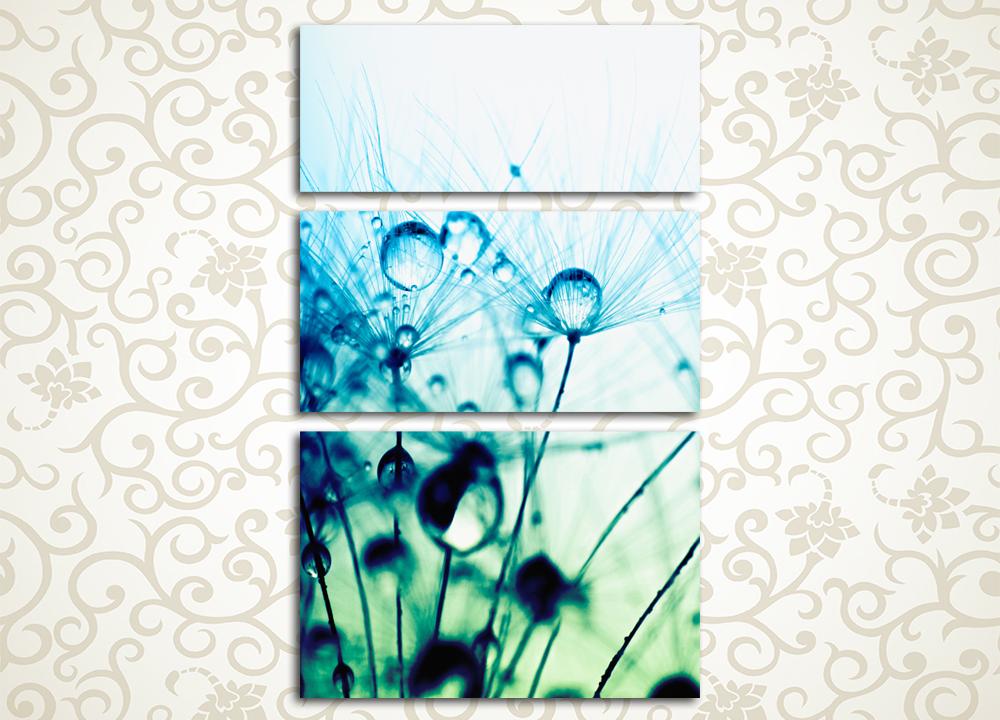 Модульная картина Нежное утроМодульная картина «Нежное утро» производит легкое и приятное впечатление. Она выдержана в светлых и легких тонах, на ней изображен крупным планом цветок одуванчика, покрытый каплями росы. Это полотно отлично подойдет к интерьеру спальни, кухни, прихожей, гостиной, а также зала. Картина состоит из 3 вертикально скомпонованных сегментов. Каждый из модулей изготовлен под пристальным контролем качества, что предотвращает дефекты и брак. Высокотехнологичные латексные краски обеспечивают отличную влагостойкость.<br>