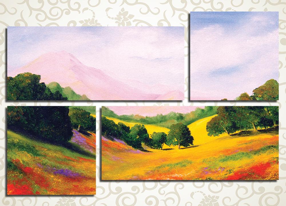 Модульная картина Картина маслом, поле