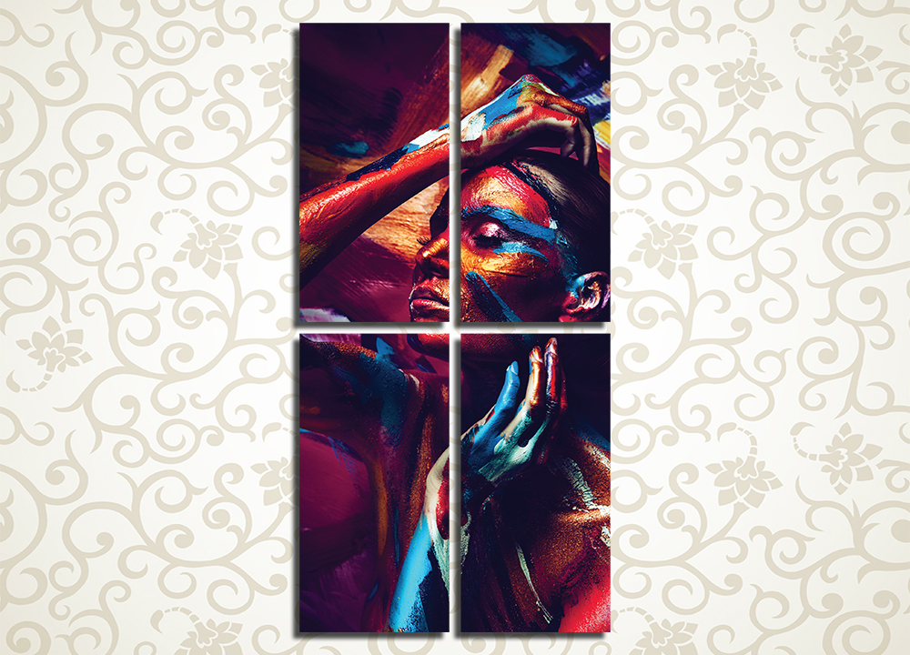 Модульная картина Девушка в красках, боди арт