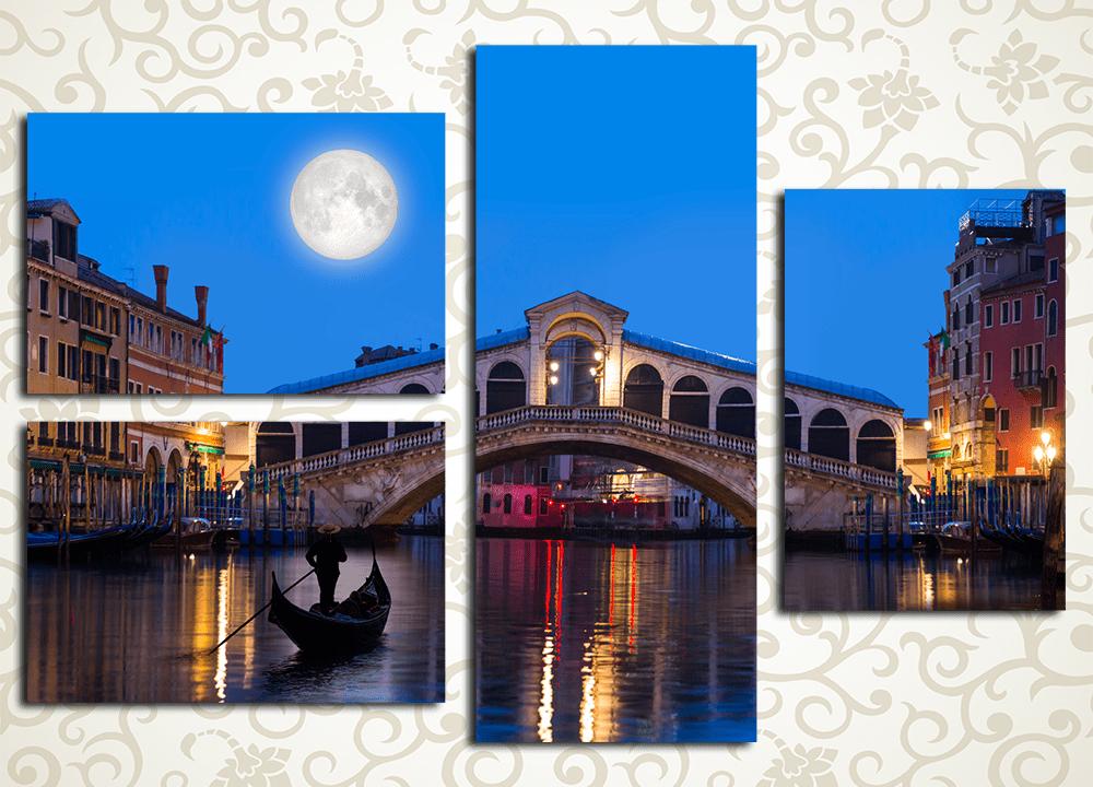 Модульная картина Ночь над Венецией (Италия)