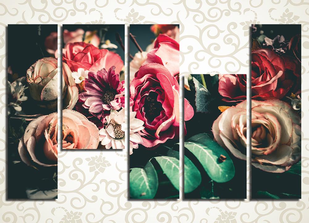 Модульная картина Необычный букет цветов