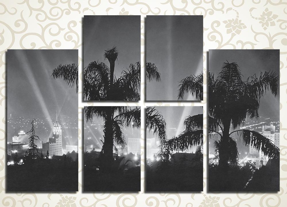 Модульная картина Огни ночного Голливуда