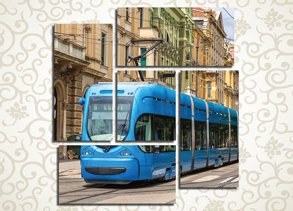 Модульная картина Синий трамвай