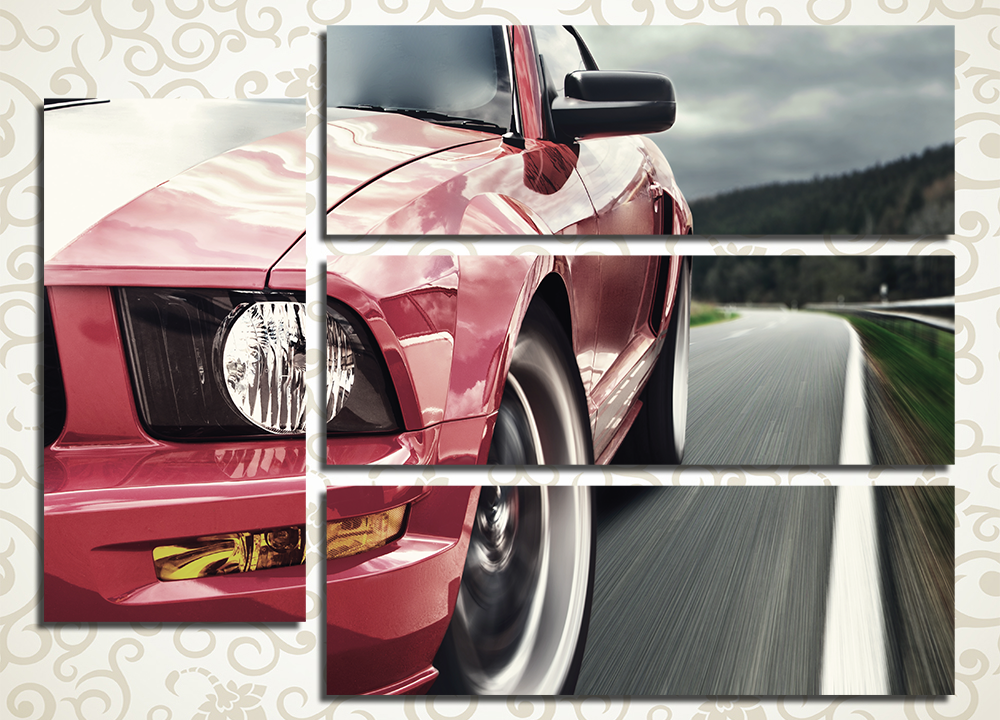 Модульная картина Красный автомобиль