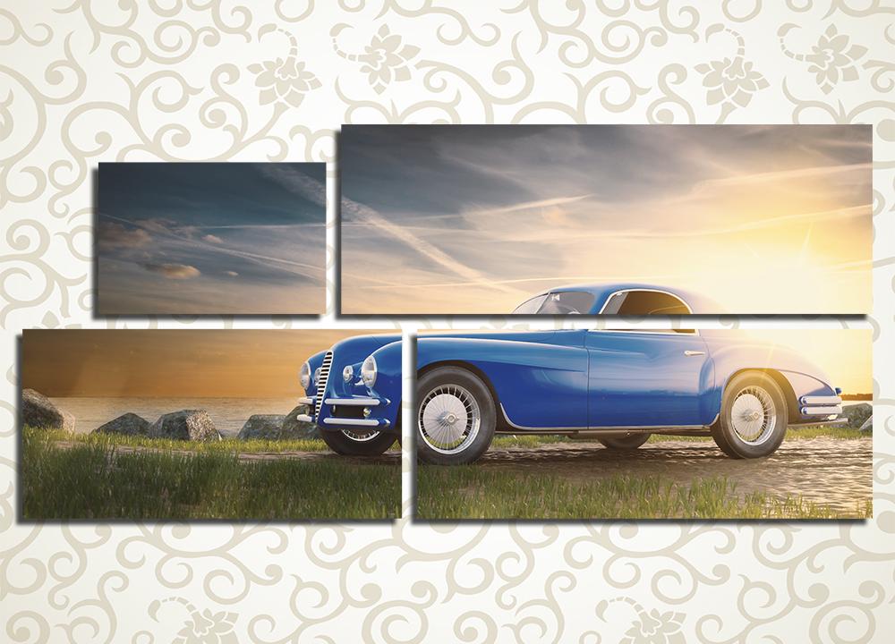 Модульная картина Синий ретро автомобиль