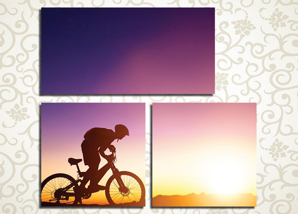 Модульная картина Велосипедист на закате