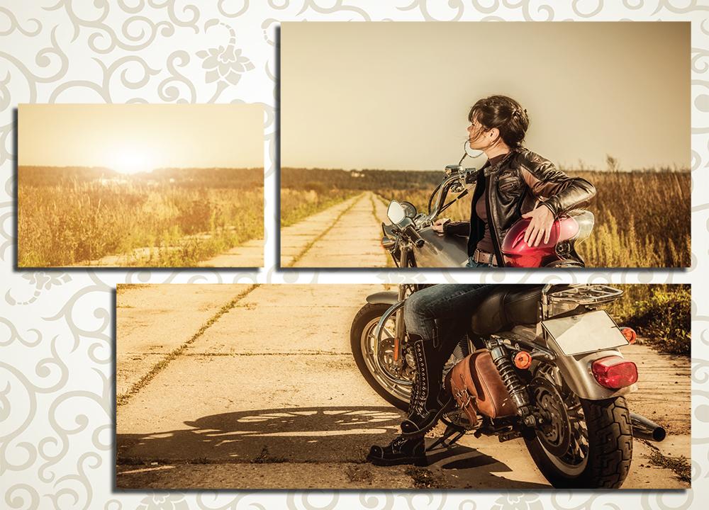 Модульная картина Девушка на мотоцикле