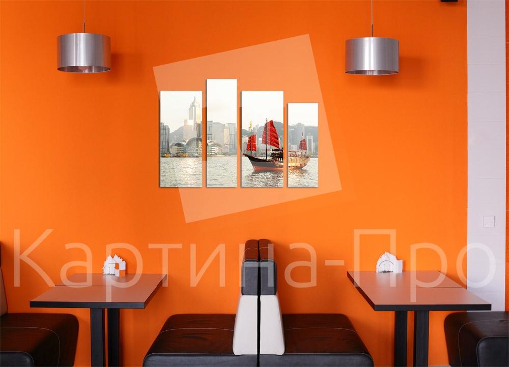 Модульная картина Парусник в бухте Гонконга от Kartina-Pro