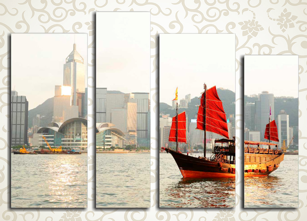 Модульная картина Парусник в бухте Гонконга