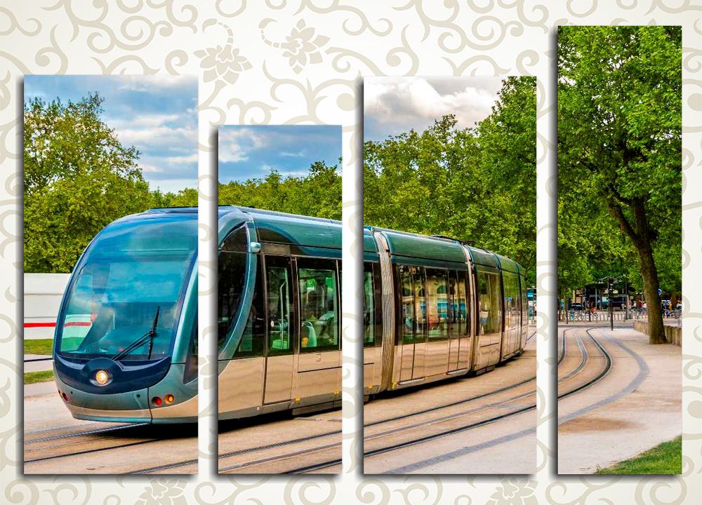 Модульная картина Трамвай в парке
