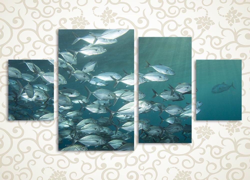 Модульная картина Косяк рыб